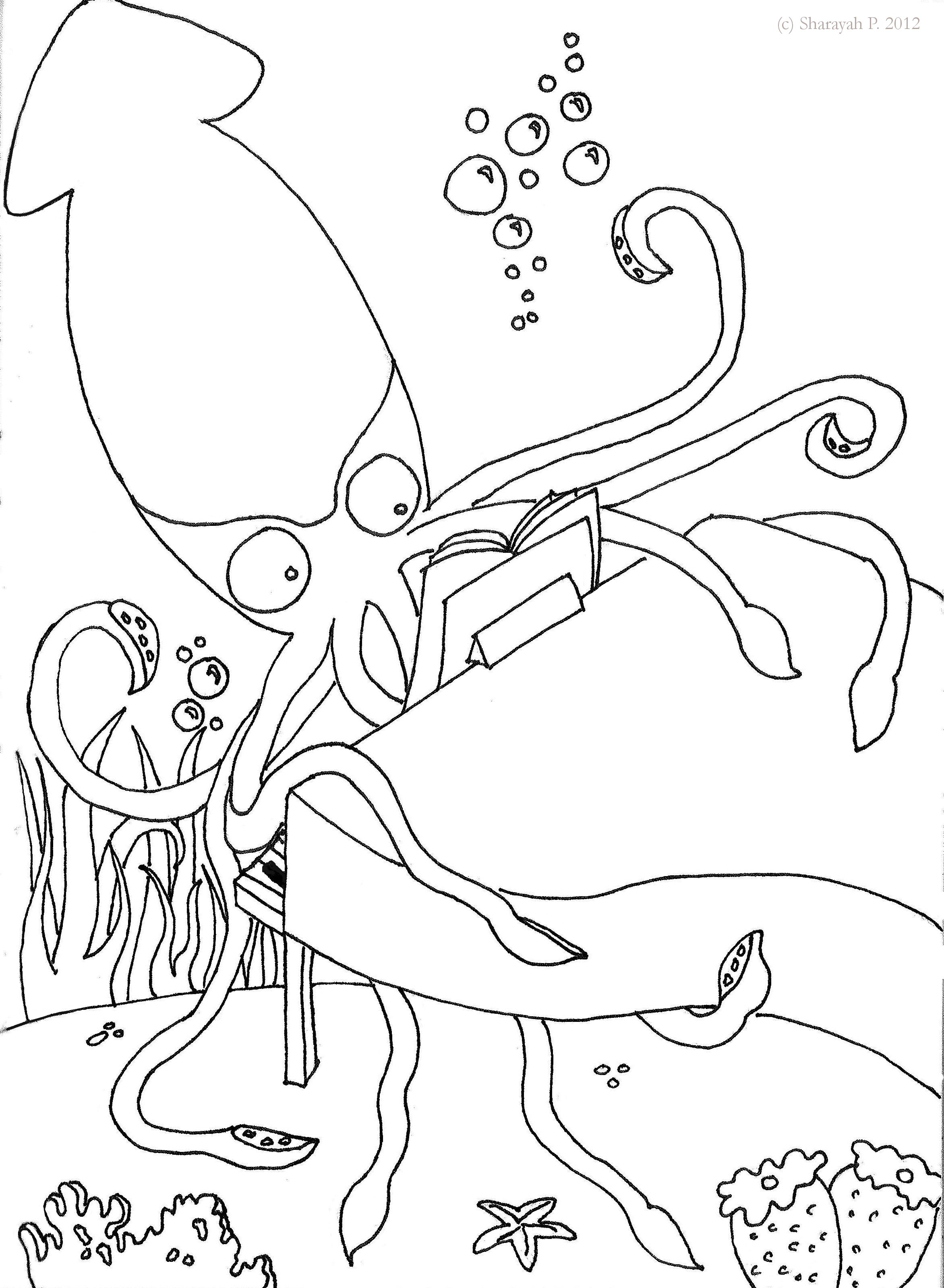 squid coloring page - giant squid coloring coloring pages